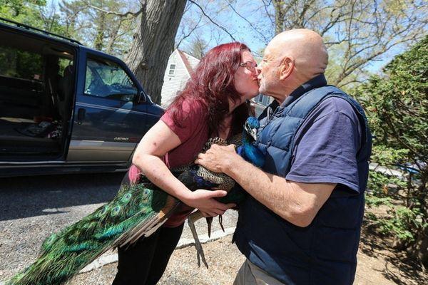 Jennifer LaVertu of Huntington Station kisses Eddie Armstrong