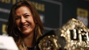 Miesha Tate, UFC women's bantamweight champion appears during