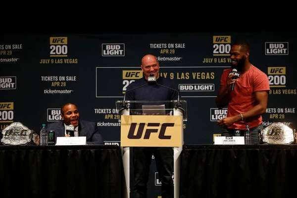 Jon Jones speaks at a press conference