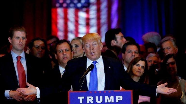 Donald Trump speaks at Trump Tower in