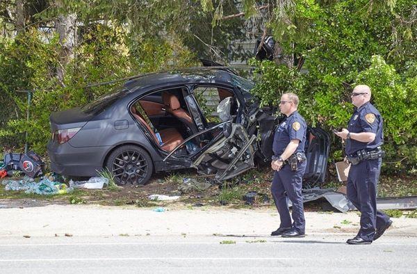 Suffolk County police investigate a car crash Thursday
