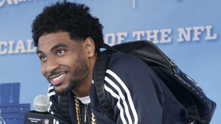 NFL prospect Braxton Miller speaks during an event