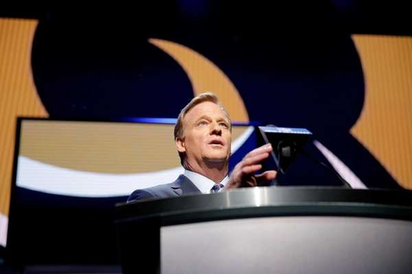 NFL Commissioner Roger Goodell speaks during the first