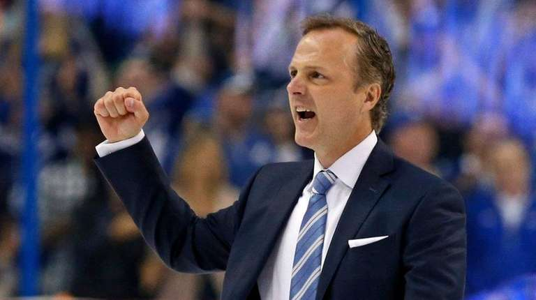 Jon Cooper of the Tampa Bay Lightning celebrates