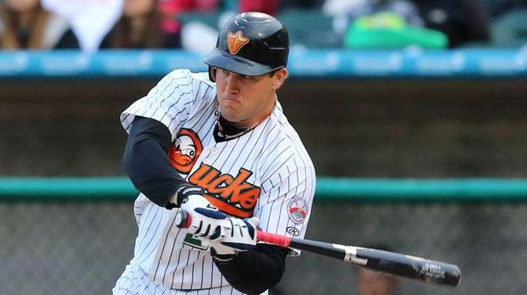 Long Island Duck's first baseman Sean Burroughs #25