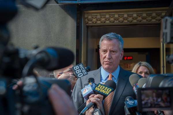 Mayor Bill de Blasio speaks to the media