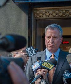 Mayor Bill de Blasio speaks to the media