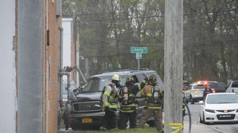 North Amityville firefighters and Suffolk County police respond
