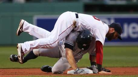 Dustin Pedroia #15 of the Boston Red Sox
