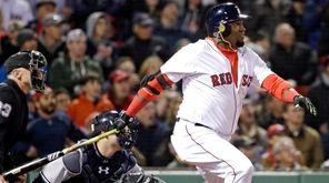Boston Red Sox designated hitter David Ortiz watches