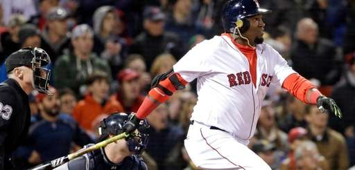 Boston Red Sox designated hitter David Ortiz watches