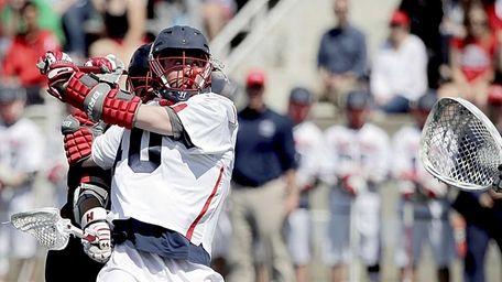 Stony Brook attackman Matt Schultz (40) surprises Hartford