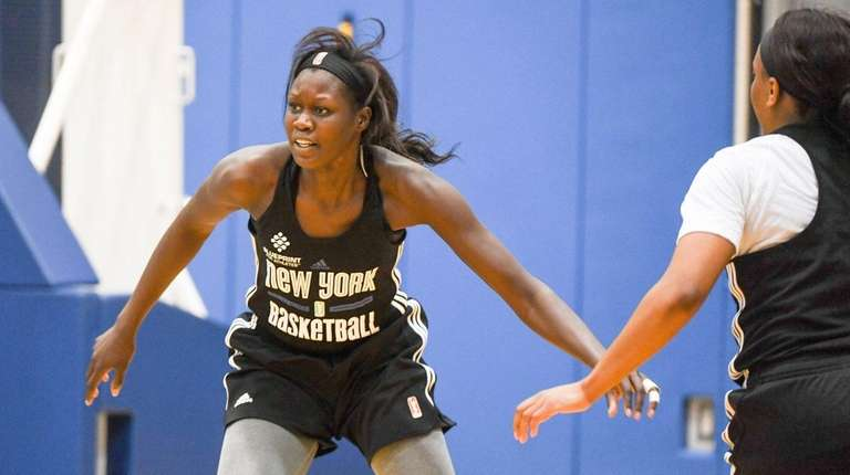 New York Liberty center Adut Bulgak during media