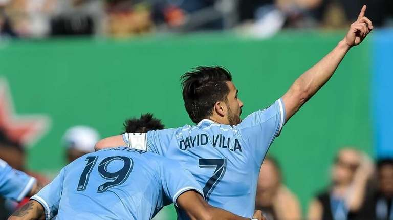 David Villa of NYFC celebrates his first of