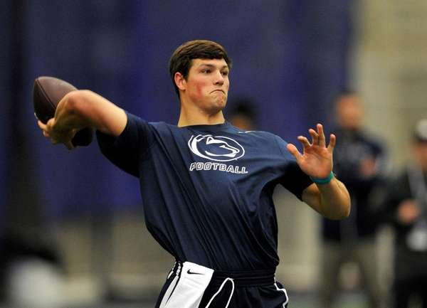 Penn State's quarterback Christian Hackenberg throws in front