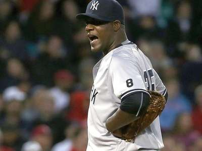 Michael Pineda of the New York Yankees reacts