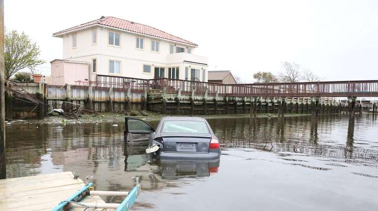 A vehicle that drove into Broad Channel waterway