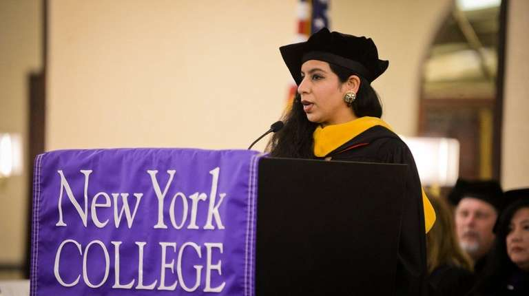 Tina Tandon, gives the commencement address during