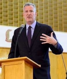 Mayor Bill de Blasio speaks at Calvary Baptist