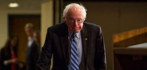 Democratic presidential candidate Bernie Sanders appears at the