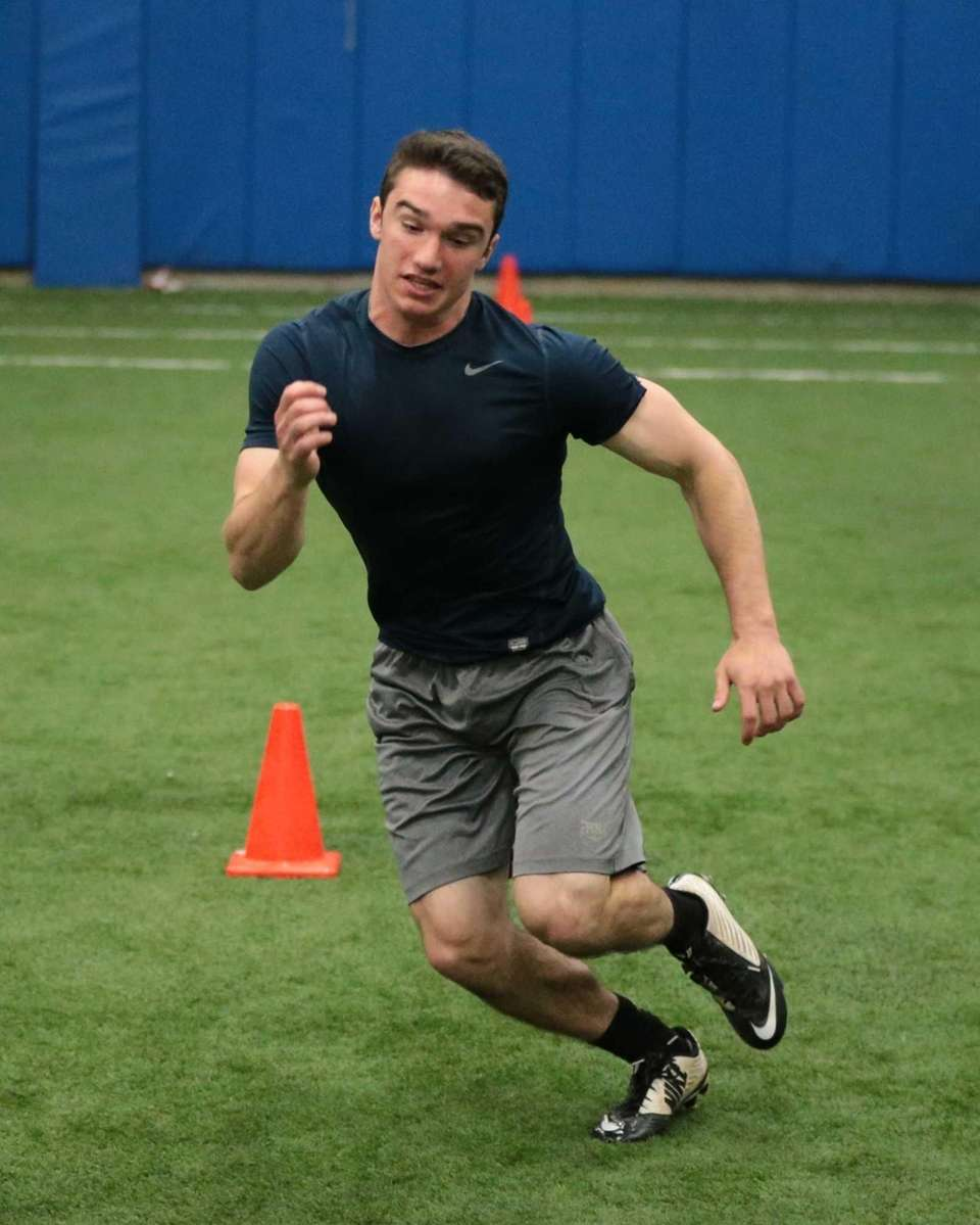Northport's Ryan Elliot completes the three-cone drill during