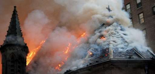 Firefighters battled flames at the historic Serbian Orthodox