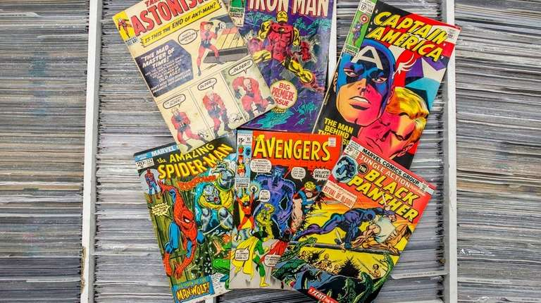 Early issues of popular comic books on display