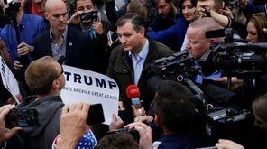 Sen. Ted Cruz, speaks with Donald Trump supporters