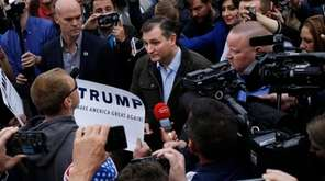 Sen. Ted Cruz (R-Texas) speaks with Donald Trump