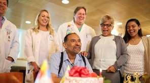 Javier Valencia of Bethpage smiles during a birthday