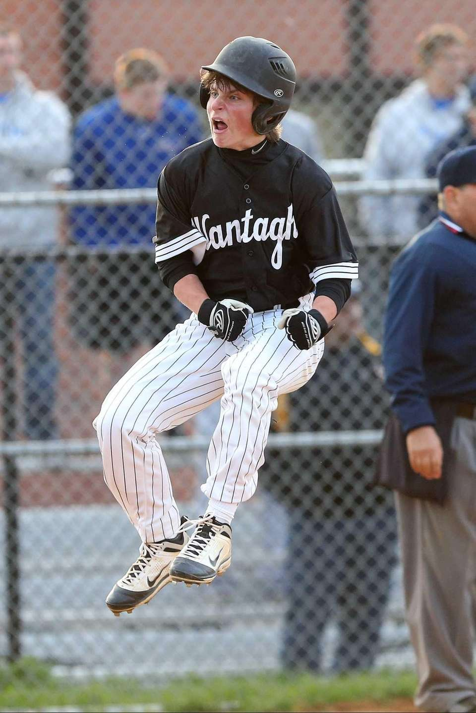 Wantagh's John Conroy records the winning run during