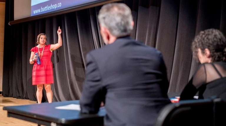 From left, Stephanie Lozito pitches her company BattleShop