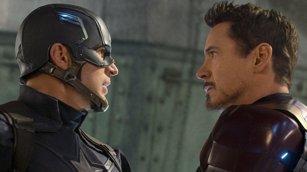Chris Evans, left, and Robert Downey Jr. face