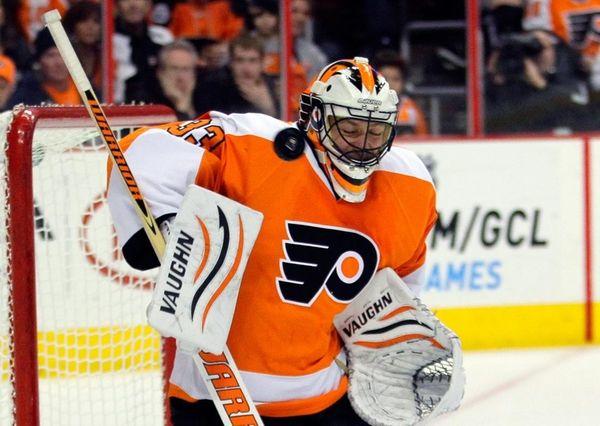 Philadelphia Flyers goalie Brian Boucher reacts as the