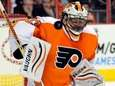 Philadelphia Flyers goalie Brian Boucher reacts as the
