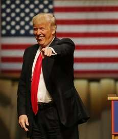 Donald Trump is pictured Monday, May 2, 2016,