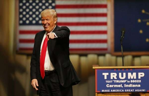 Donald Trump is shown at a campaign rally