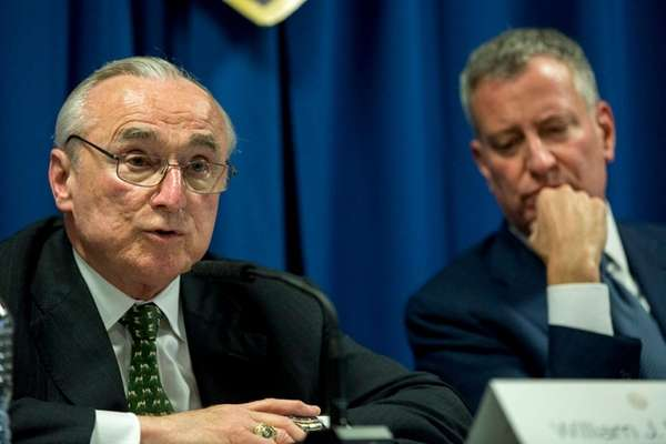 NYPD Commissioner William Bratton, along with Mayor Bill