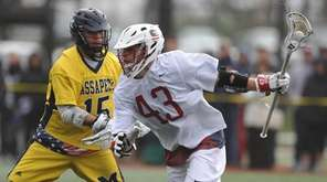 Lucas Cotler #43 of Syosset, right, gets