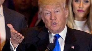 Presumptive Republican presidential candidate Donald Trump takes a
