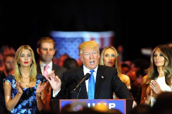Republican presidential candidate Donald Trump celebrates his victory