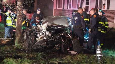 Suffolk County police investigate a fatal single-car crash