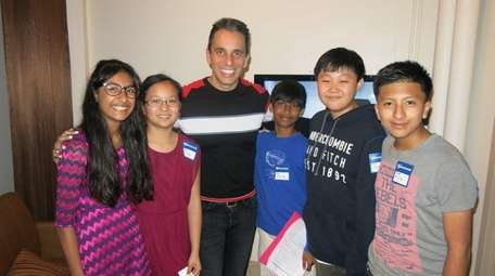 Comedian Sebastian Maniscalco with Kidsday reporters Daniya Yousuf,