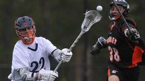 Kevin Mack #22 of Manhasset, left, takes a