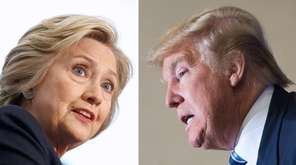 This photo combination shows Democratic presidential candidate Hillary