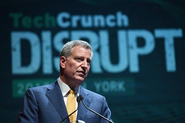 Mayor Bill de Blasio speaks during TechCrunch Disrupt