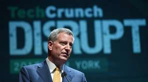 Mayor Bill de Blasio speaks during TechCrunch Disrupt