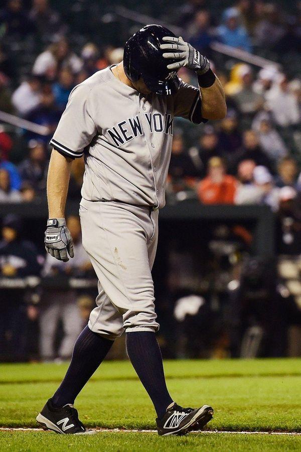 Brett Gardner of the New York Yankees reacts