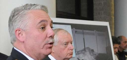 Former Suffolk County Police Chief James Burke, left,