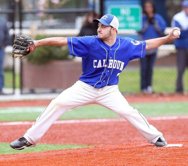 Calhoun's Jake Gargiulo on the mound during a